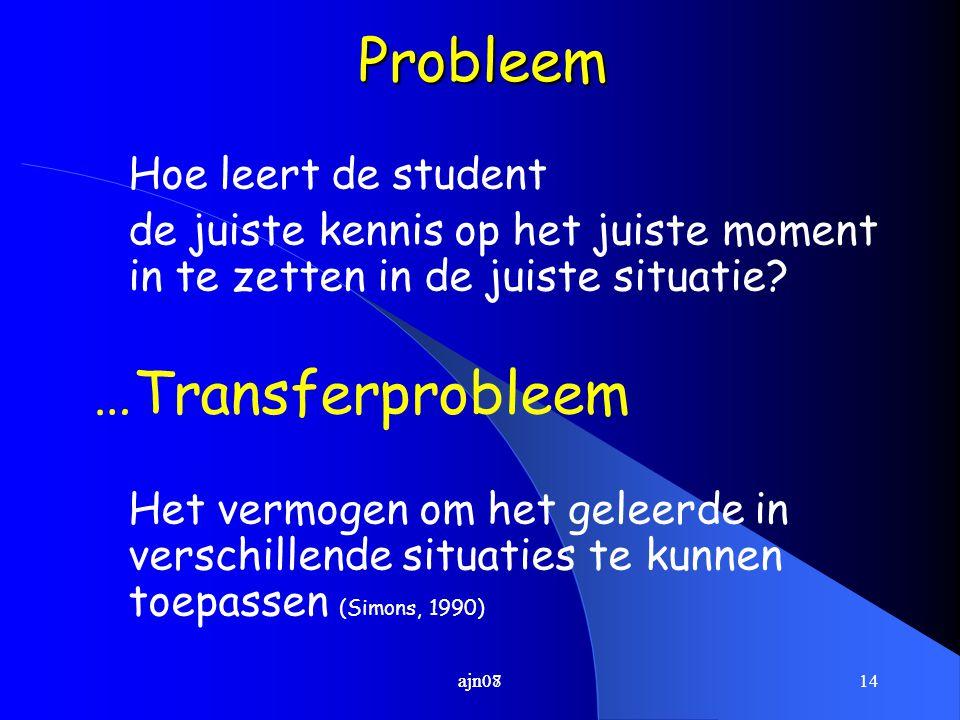 14ajn07Probleem Hoe leert de student de juiste kennis op het juiste moment in te zetten in de juiste situatie? …Transferprobleem Het vermogen om het g