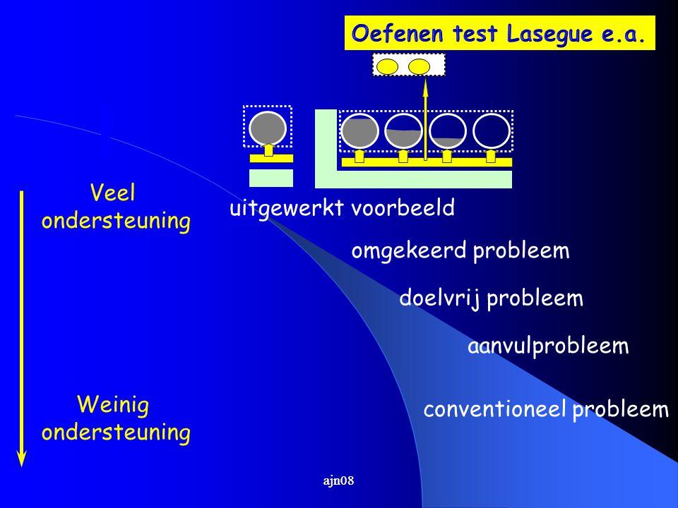uitgewerkt voorbeeld omgekeerd probleem doelvrij probleem aanvulprobleem conventioneel probleem Veel ondersteuning Weinig ondersteuning ajn08