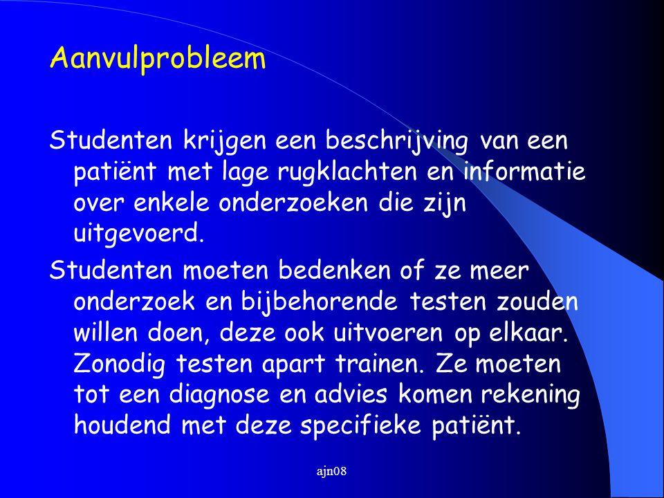 Aanvulprobleem Studenten krijgen een beschrijving van een patiënt met lage rugklachten en informatie over enkele onderzoeken die zijn uitgevoerd. Stud