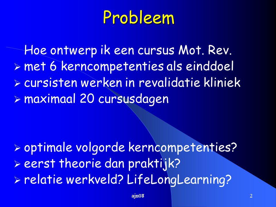 2ajn07Probleem Hoe ontwerp ik een cursus Mot. Rev.  met 6 kerncompetenties als einddoel  cursisten werken in revalidatie kliniek  maximaal 20 cursu