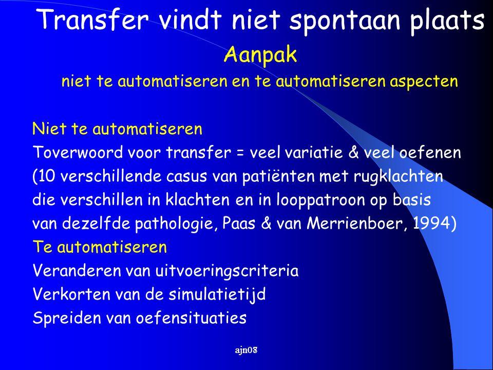 ajn07 Transfer vindt niet spontaan plaats Aanpak niet te automatiseren en te automatiseren aspecten Niet te automatiseren Toverwoord voor transfer = v