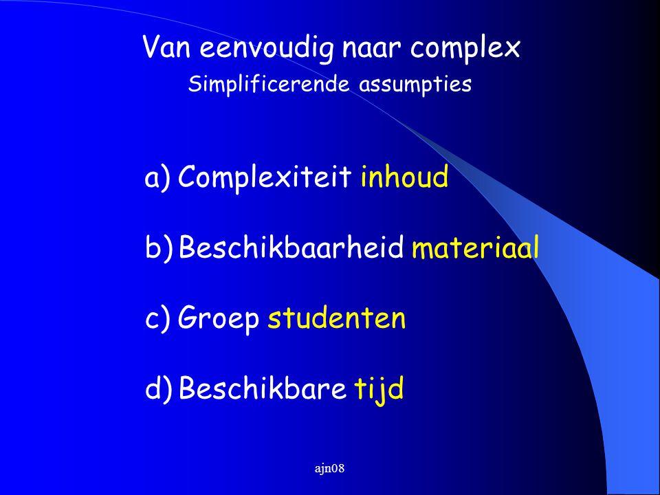 ajn08 a)Complexiteit inhoud b)Beschikbaarheid materiaal c)Groep studenten d)Beschikbare tijd Van eenvoudig naar complex Simplificerende assumpties