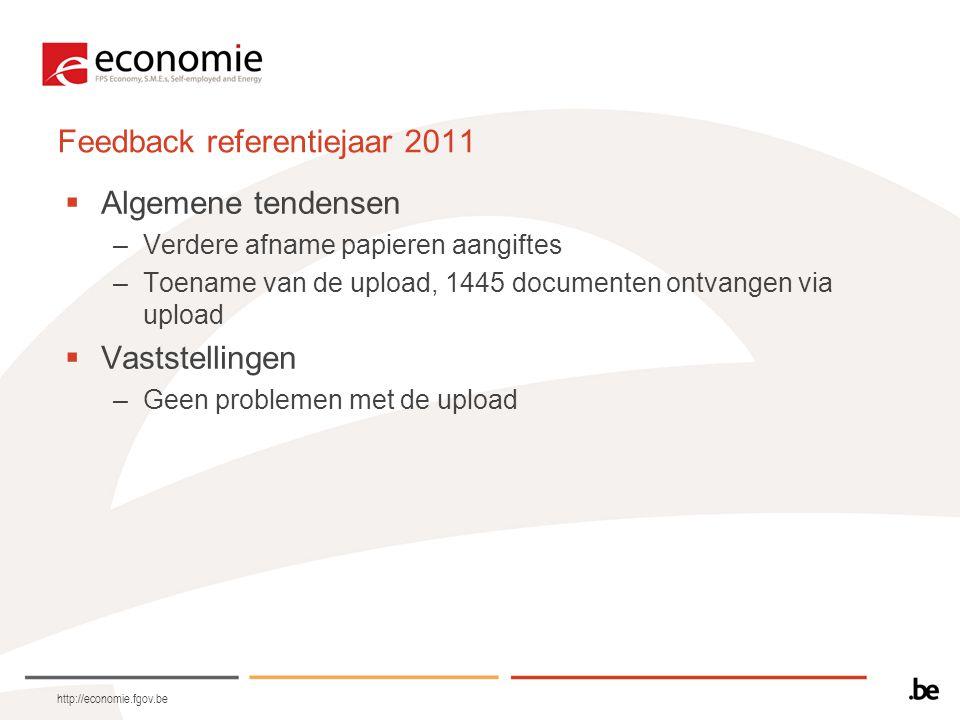 http://economie.fgov.be Feedback referentiejaar 2011  Algemene tendensen –Verdere afname papieren aangiftes –Toename van de upload, 1445 documenten ontvangen via upload  Vaststellingen –Geen problemen met de upload