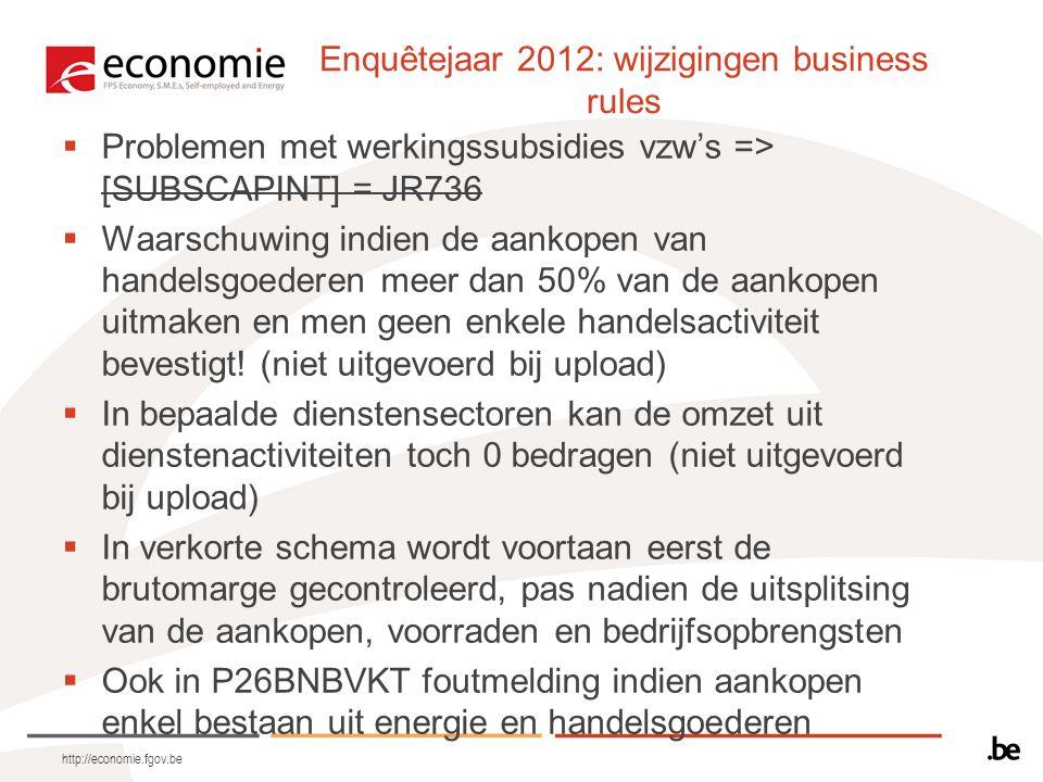 http://economie.fgov.be Enquêtejaar 2012: wijzigingen business rules  Problemen met werkingssubsidies vzw's => [SUBSCAPINT] = JR736  Waarschuwing indien de aankopen van handelsgoederen meer dan 50% van de aankopen uitmaken en men geen enkele handelsactiviteit bevestigt.