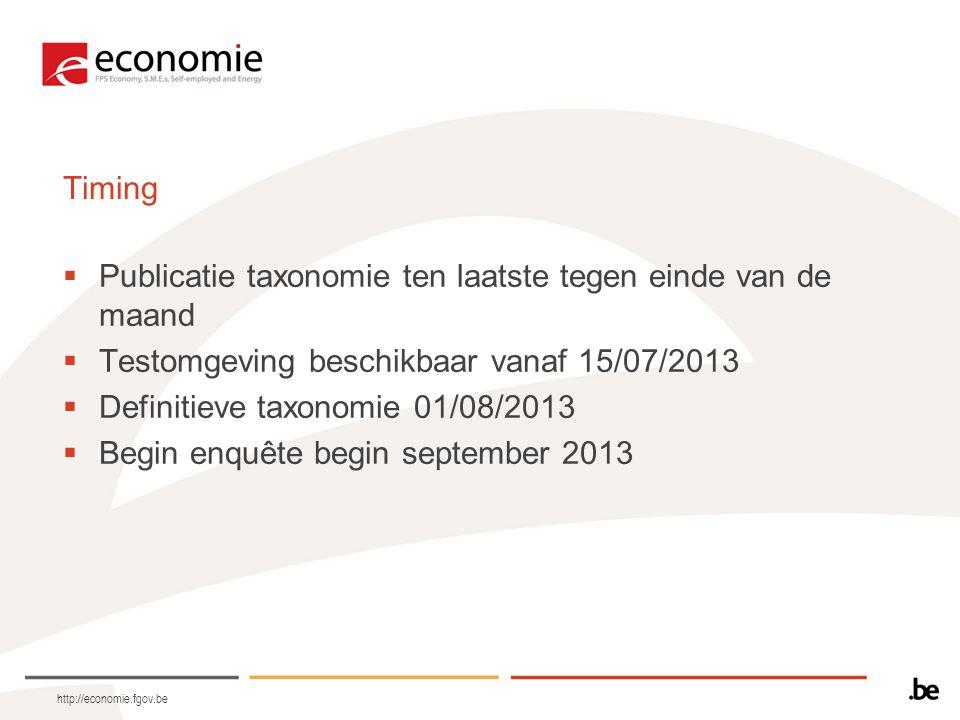 http://economie.fgov.be Timing  Publicatie taxonomie ten laatste tegen einde van de maand  Testomgeving beschikbaar vanaf 15/07/2013  Definitieve taxonomie 01/08/2013  Begin enquête begin september 2013