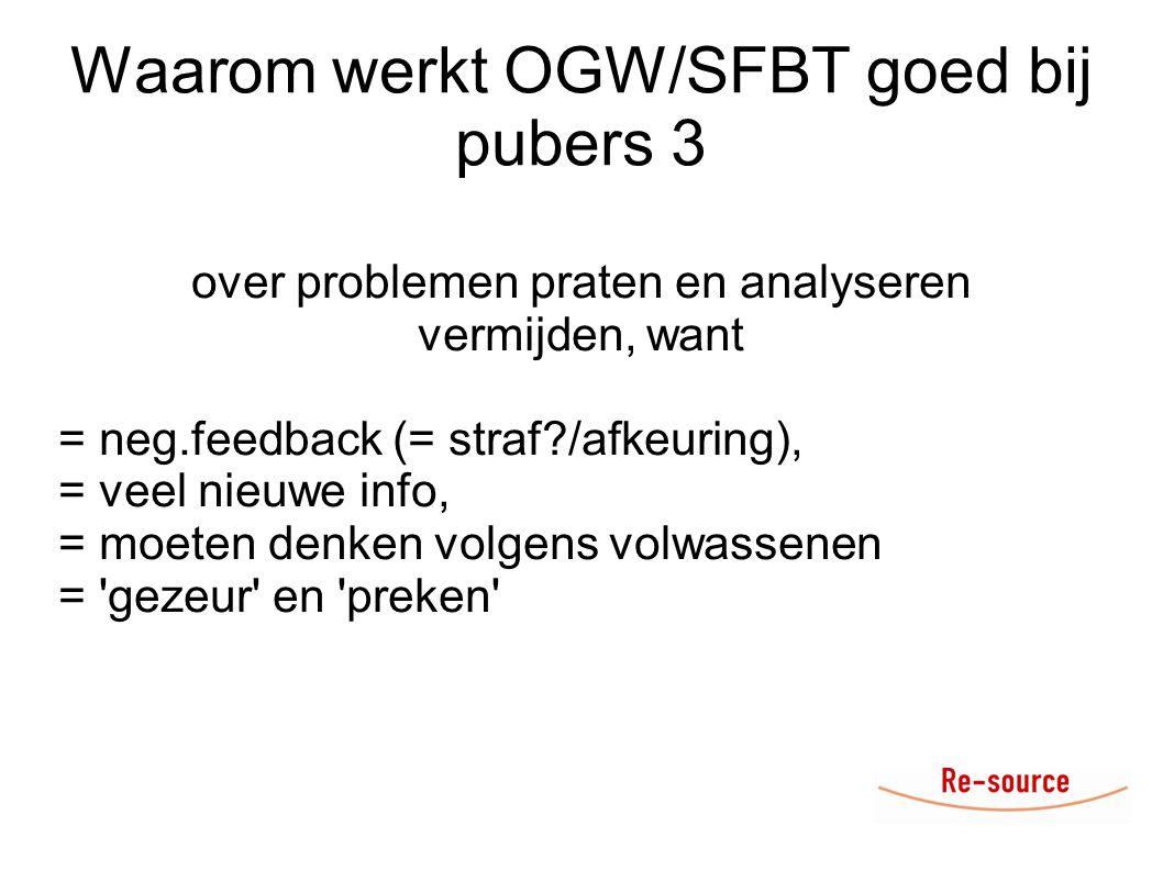 Waarom werkt OGW/SFBT goed bij pubers 3 over problemen praten en analyseren vermijden, want = neg.feedback (= straf?/afkeuring), = veel nieuwe info, = moeten denken volgens volwassenen = gezeur en preken