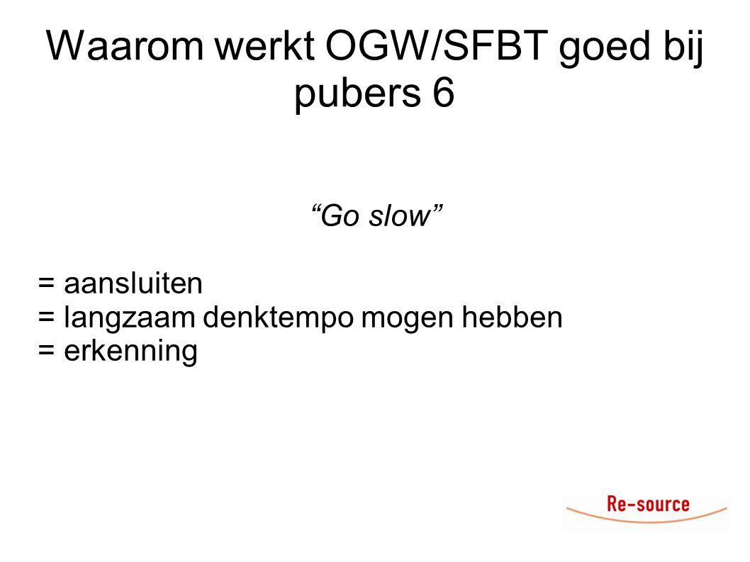 Waarom werkt OGW/SFBT goed bij pubers 6 Go slow = aansluiten = langzaam denktempo mogen hebben = erkenning