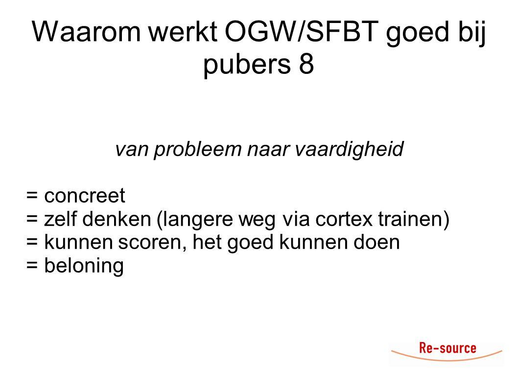 Waarom werkt OGW/SFBT goed bij pubers 8 van probleem naar vaardigheid = concreet = zelf denken (langere weg via cortex trainen) = kunnen scoren, het goed kunnen doen = beloning