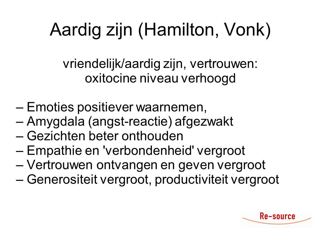 Aardig zijn (Hamilton, Vonk) vriendelijk/aardig zijn, vertrouwen: oxitocine niveau verhoogd – Emoties positiever waarnemen, – Amygdala (angst-reactie)