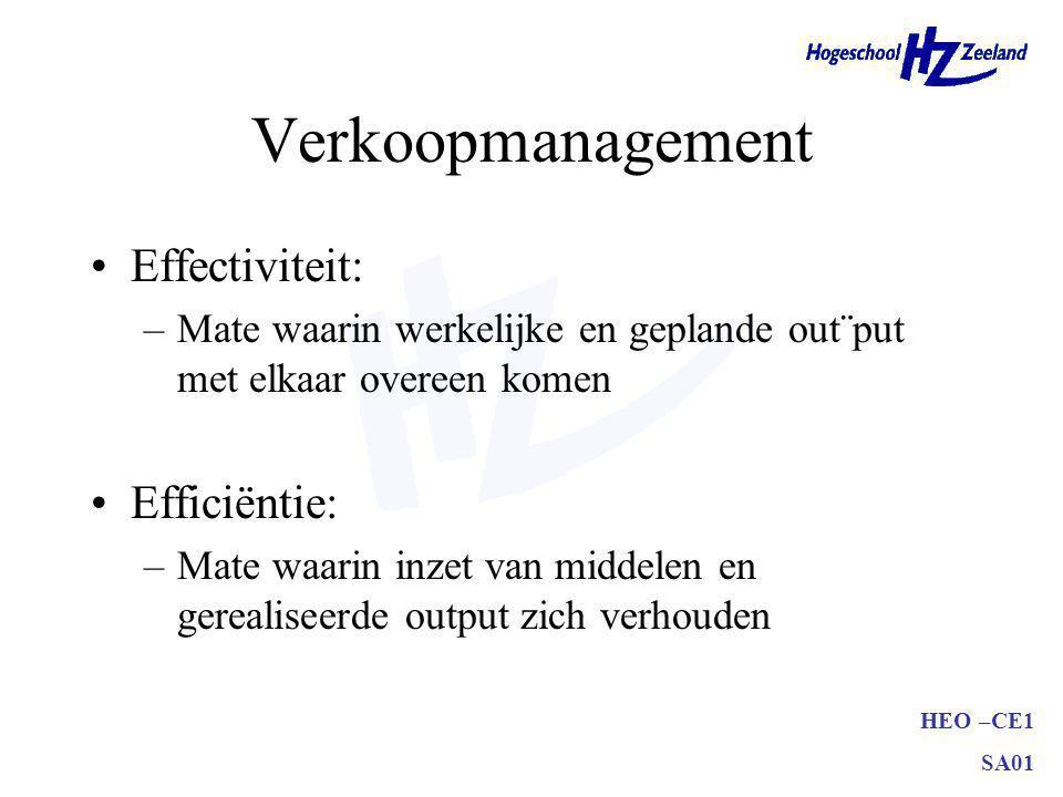 HEO –CE1 SA01 Verkoopmanagement Effectiviteit: –Mate waarin werkelijke en geplande out¨put met elkaar overeen komen Efficiëntie: –Mate waarin inzet van middelen en gerealiseerde output zich verhouden