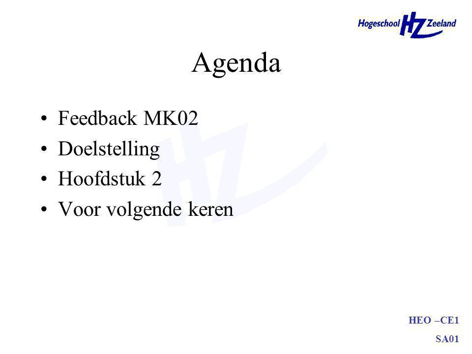 HEO –CE1 SA01 Agenda Feedback MK02 Doelstelling Hoofdstuk 2 Voor volgende keren