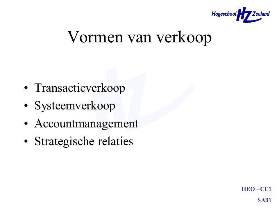 HEO –CE1 SA01 Vormen van verkoop Transactieverkoop Systeemverkoop Accountmanagement Strategische relaties