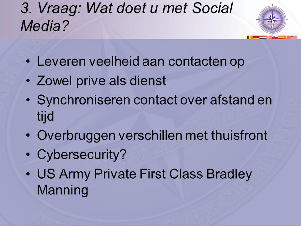 3. Vraag: Wat doet u met Social Media? Leveren veelheid aan contacten op Zowel prive als dienst Synchroniseren contact over afstand en tijd Overbrugge