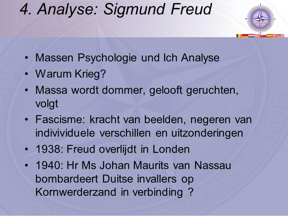 4. Analyse: Sigmund Freud Massen Psychologie und Ich Analyse Warum Krieg? Massa wordt dommer, gelooft geruchten, volgt Fascisme: kracht van beelden, n