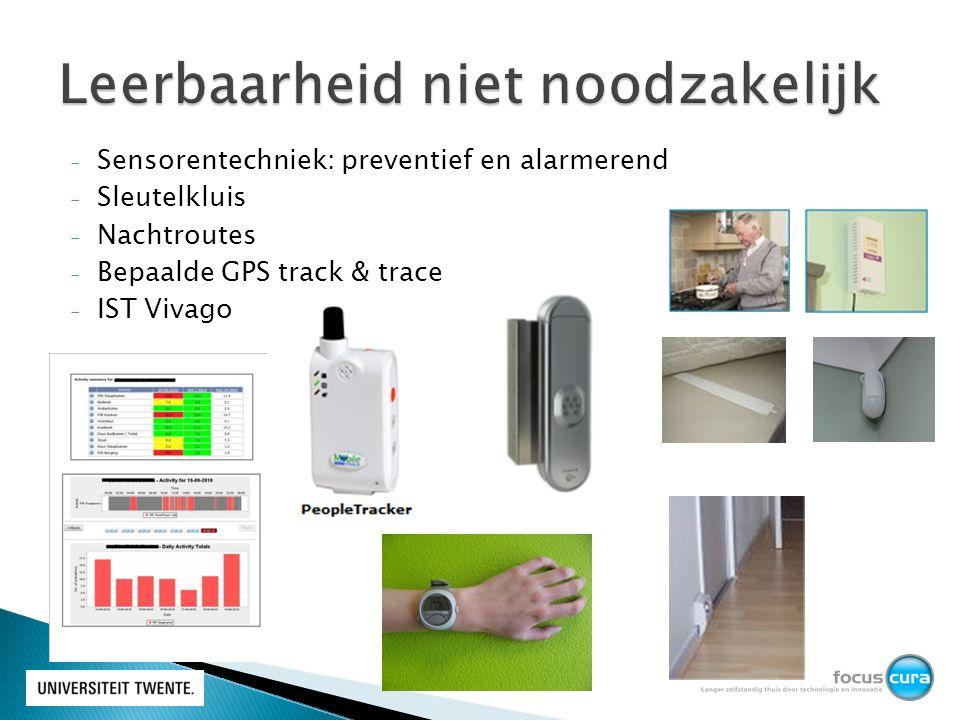 - Sensorentechniek: preventief en alarmerend - Sleutelkluis - Nachtroutes - Bepaalde GPS track & trace - IST Vivago
