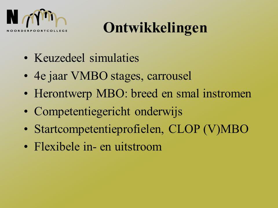 Ontwikkelingen Keuzedeel simulaties 4e jaar VMBO stages, carrousel Herontwerp MBO: breed en smal instromen Competentiegericht onderwijs Startcompetent