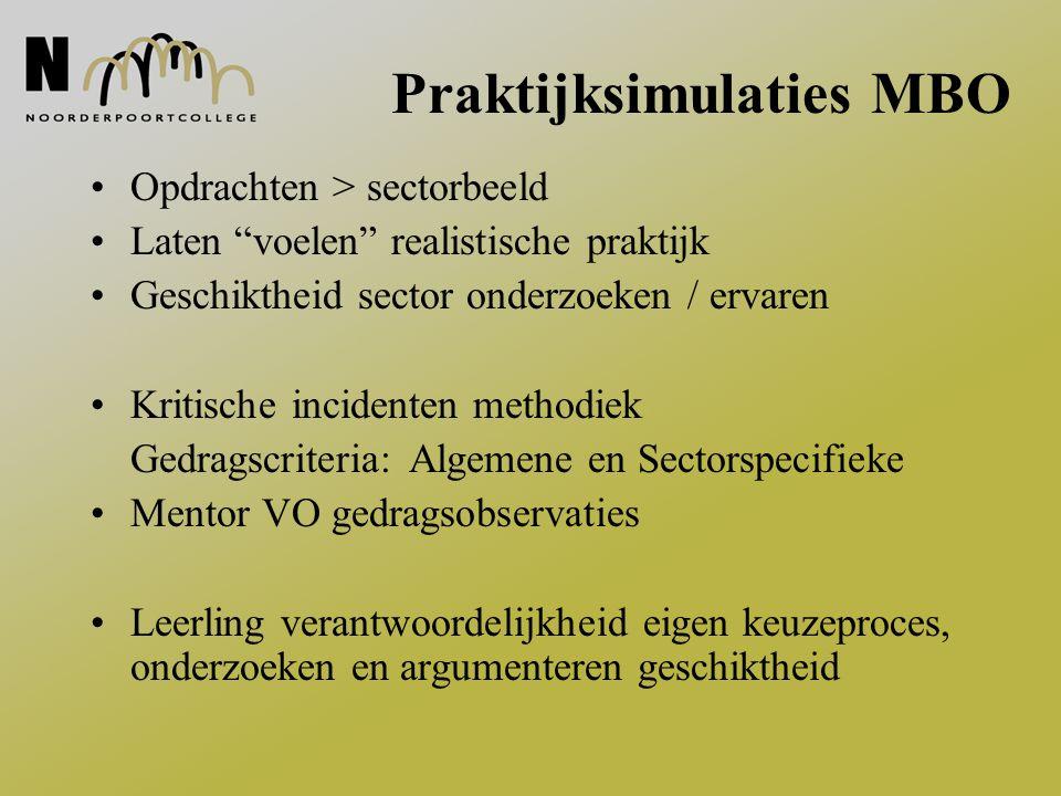 """Praktijksimulaties MBO Opdrachten > sectorbeeld Laten """"voelen"""" realistische praktijk Geschiktheid sector onderzoeken / ervaren Kritische incidenten me"""