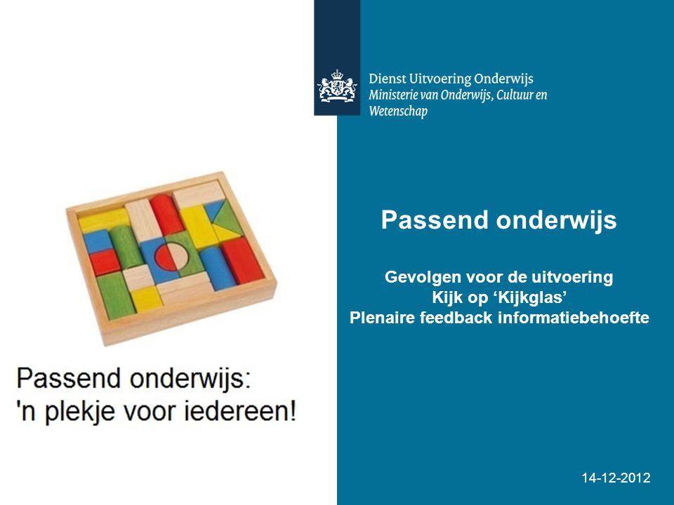 Passend onderwijs Gevolgen voor de uitvoering Kijk op 'Kijkglas' Plenaire feedback informatiebehoefte 14-12-2012