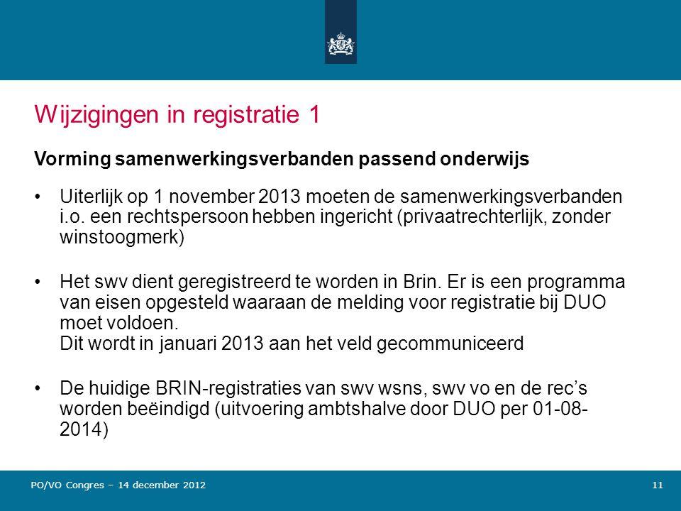Wijzigingen in registratie 1 Vorming samenwerkingsverbanden passend onderwijs Uiterlijk op 1 november 2013 moeten de samenwerkingsverbanden i.o. een r