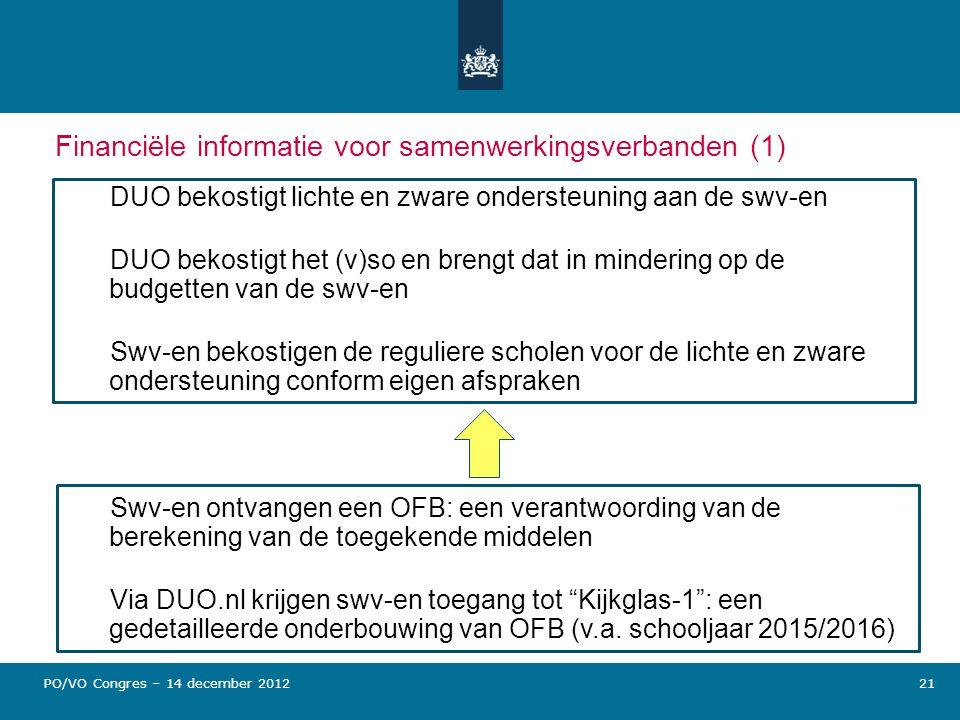 21 Financiële informatie voor samenwerkingsverbanden (1) DUO bekostigt lichte en zware ondersteuning aan de swv-en DUO bekostigt het (v)so en brengt d