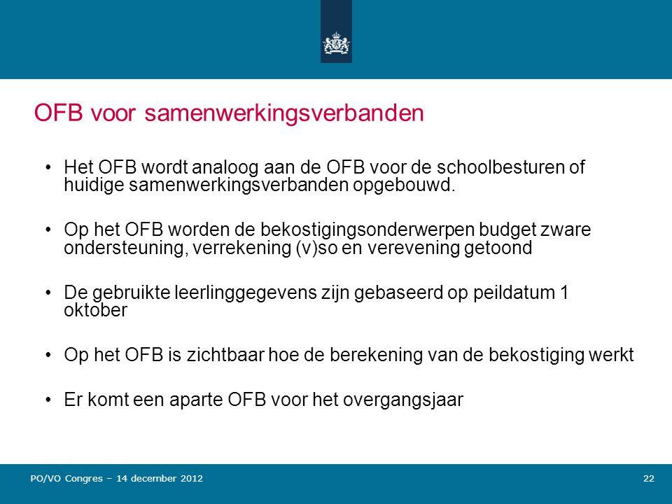 OFB voor samenwerkingsverbanden Het OFB wordt analoog aan de OFB voor de schoolbesturen of huidige samenwerkingsverbanden opgebouwd. Op het OFB worden