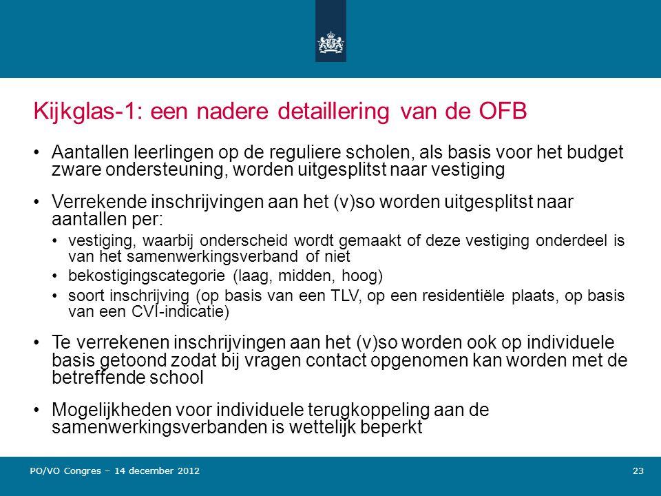 Kijkglas-1: een nadere detaillering van de OFB Aantallen leerlingen op de reguliere scholen, als basis voor het budget zware ondersteuning, worden uit