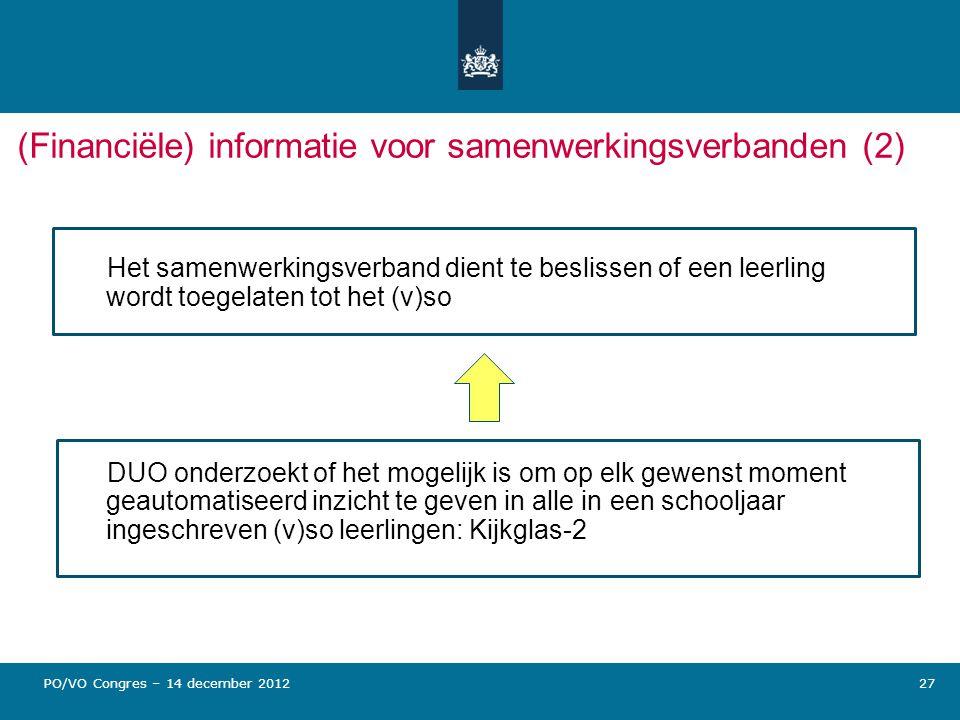 27 (Financiële) informatie voor samenwerkingsverbanden (2) Het samenwerkingsverband dient te beslissen of een leerling wordt toegelaten tot het (v)so