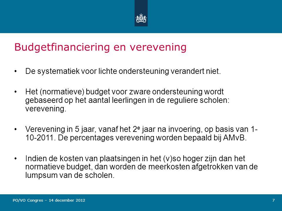 Budgetfinanciering en verevening De systematiek voor lichte ondersteuning verandert niet. Het (normatieve) budget voor zware ondersteuning wordt gebas