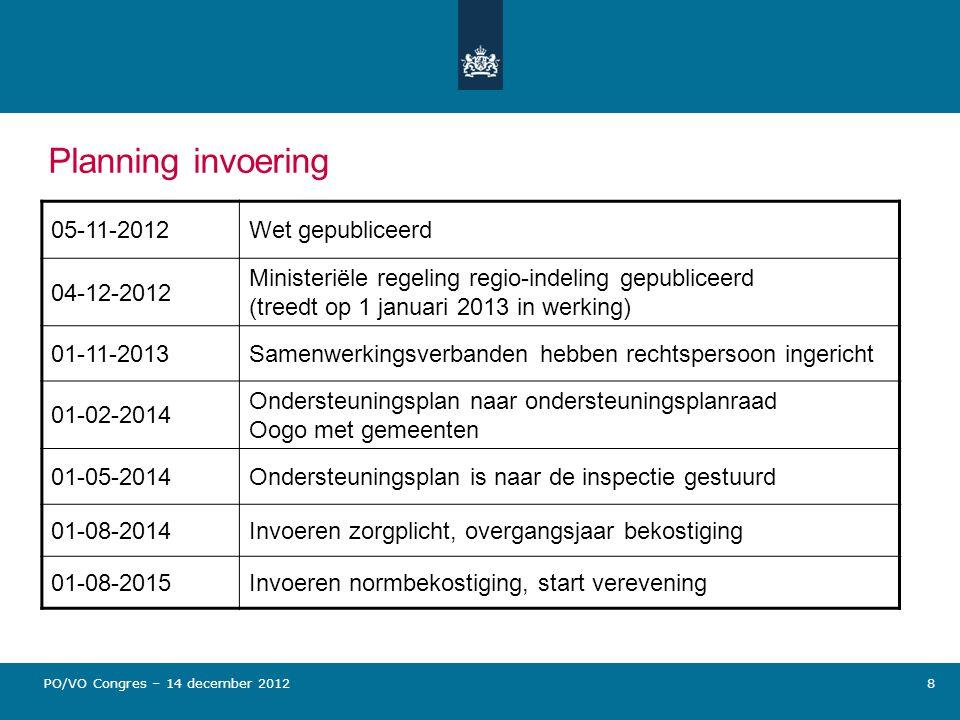 Planning invoering 05-11-2012Wet gepubliceerd 04-12-2012 Ministeriële regeling regio-indeling gepubliceerd (treedt op 1 januari 2013 in werking) 01-11