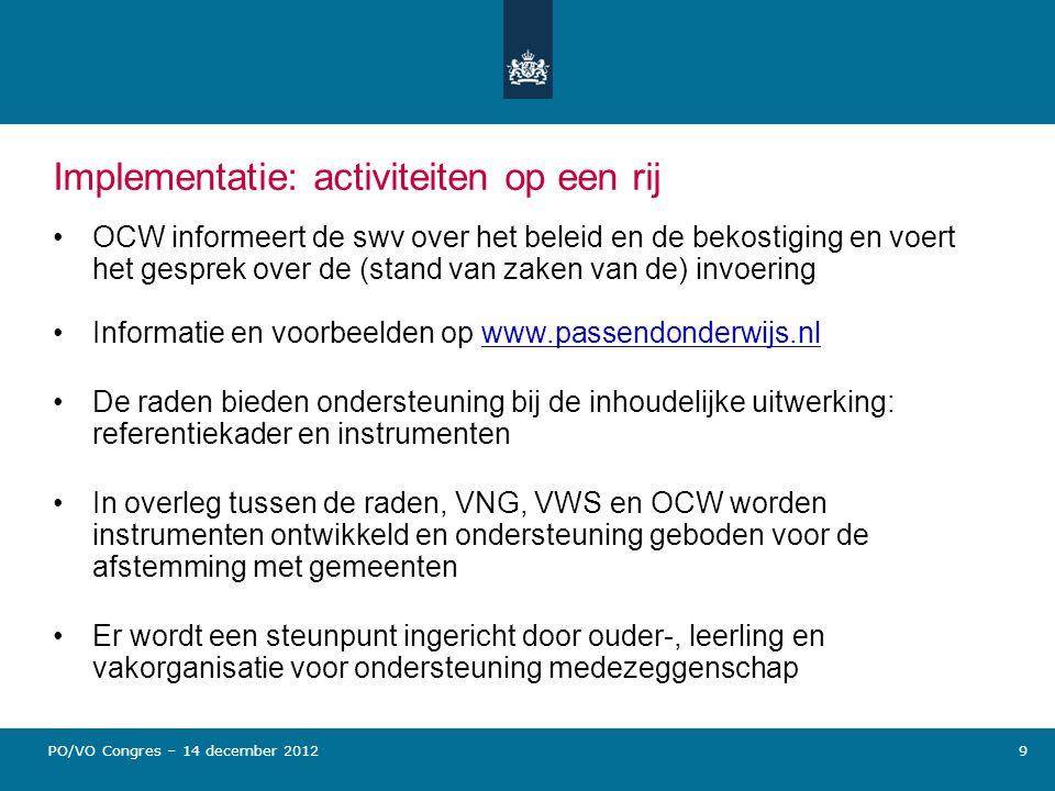 Implementatie: activiteiten op een rij OCW informeert de swv over het beleid en de bekostiging en voert het gesprek over de (stand van zaken van de) i