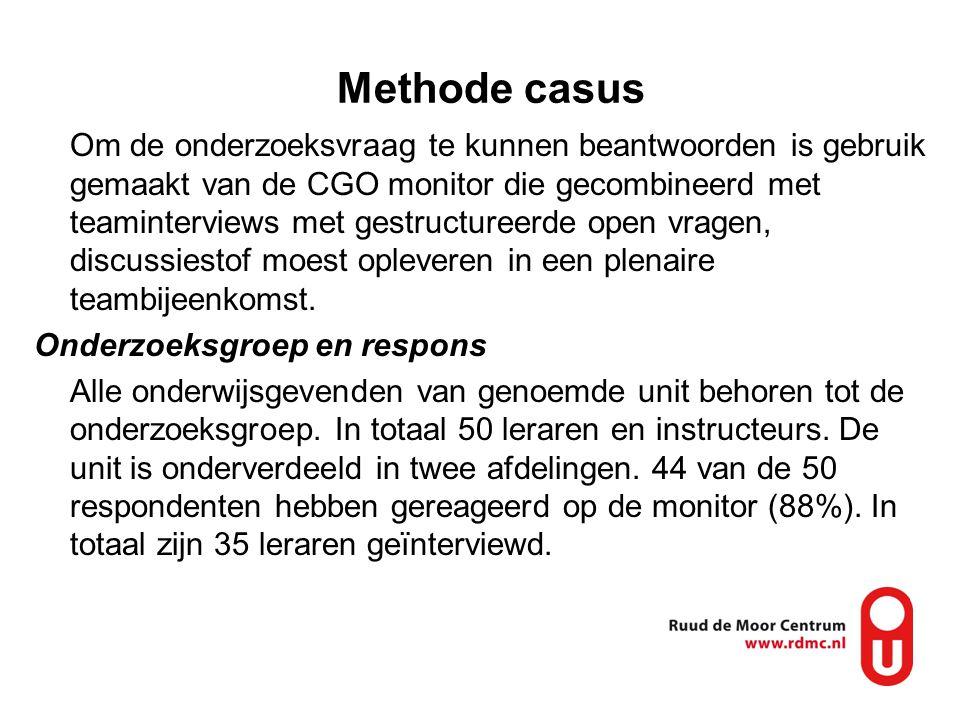 Methode casus Om de onderzoeksvraag te kunnen beantwoorden is gebruik gemaakt van de CGO monitor die gecombineerd met teaminterviews met gestructureer