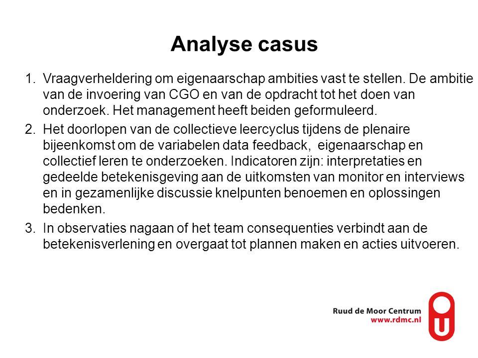 Analyse casus 1.Vraagverheldering om eigenaarschap ambities vast te stellen. De ambitie van de invoering van CGO en van de opdracht tot het doen van o