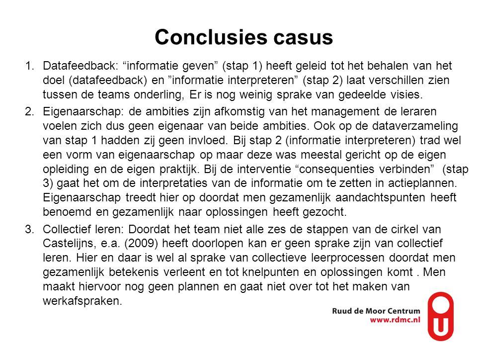 """Conclusies casus 1.Datafeedback: """"informatie geven"""" (stap 1) heeft geleid tot het behalen van het doel (datafeedback) en """"informatie interpreteren"""" (s"""