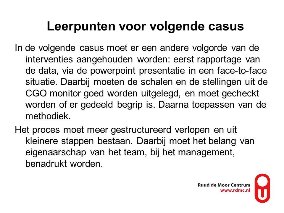 Leerpunten voor volgende casus In de volgende casus moet er een andere volgorde van de interventies aangehouden worden: eerst rapportage van de data,