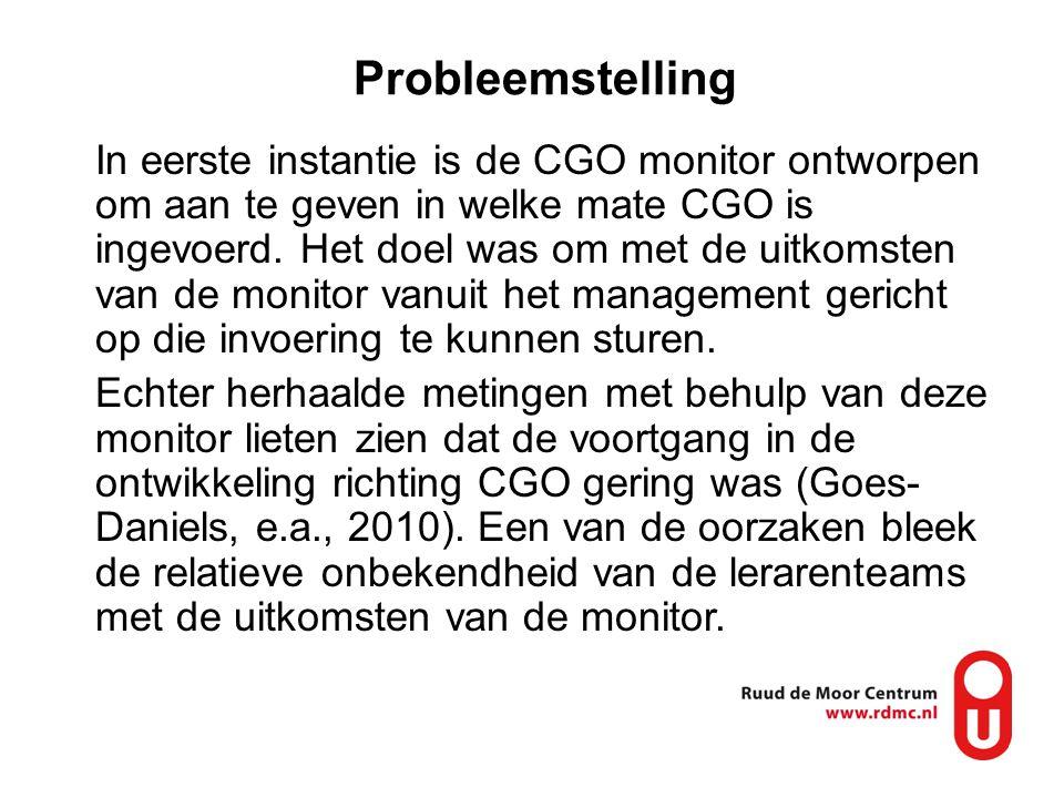 Probleemstelling In eerste instantie is de CGO monitor ontworpen om aan te geven in welke mate CGO is ingevoerd. Het doel was om met de uitkomsten van