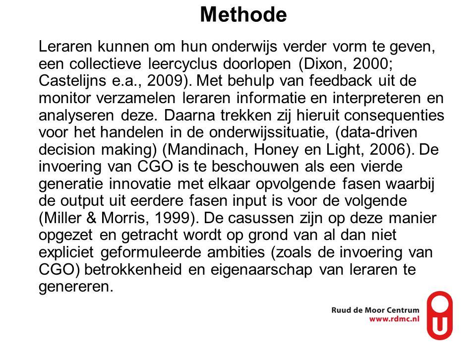 Methode Leraren kunnen om hun onderwijs verder vorm te geven, een collectieve leercyclus doorlopen (Dixon, 2000; Castelijns e.a., 2009). Met behulp va
