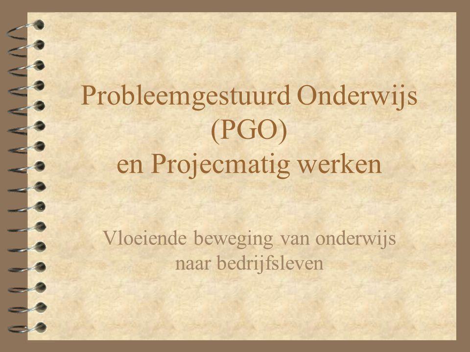 Verschil PGO en Projectmatig werken 4 PGO: gericht op verzamelen van kennis en vaardigheden (Nadruk op PROCES) 4 Projectmatig werken (en Projectonderwijs(PO)): gericht op het toepassen/leren van een aanpak, die erop is gericht een product te genereren (Nadruk op PRODUCT) 4 Mengvormen van PGO en PO mogelijk!!!