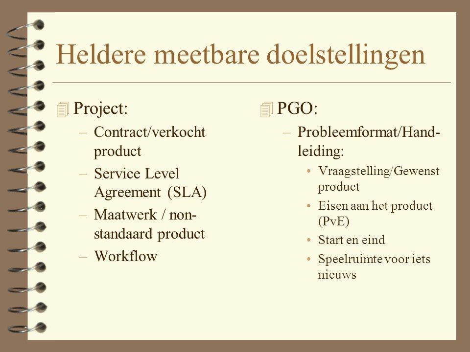 Verschil PGO en Projectmatig werken 4 PGO: gericht op verzamelen van kennis en vaardigheden (Nadruk op PROCES) 4 Projectmatig werken (en Projectonderw