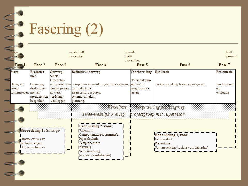 Fasering 1. Voorbereiding/Planning (go/no go besluiten) 2. Implementatie (KANTELPUNT) (bijstellen) 3. Oplevering / Acceptatie (Accepteren/Afwijzen) Fa