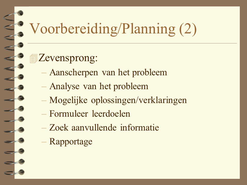 Voorbereiding / Planning 4 Kennismaking 4 Presentatie van 'het probleem' 4 Inventarisatie/Brainstorm 4 PvE/planning/ontwerp/begroting 4 Taakafstemming