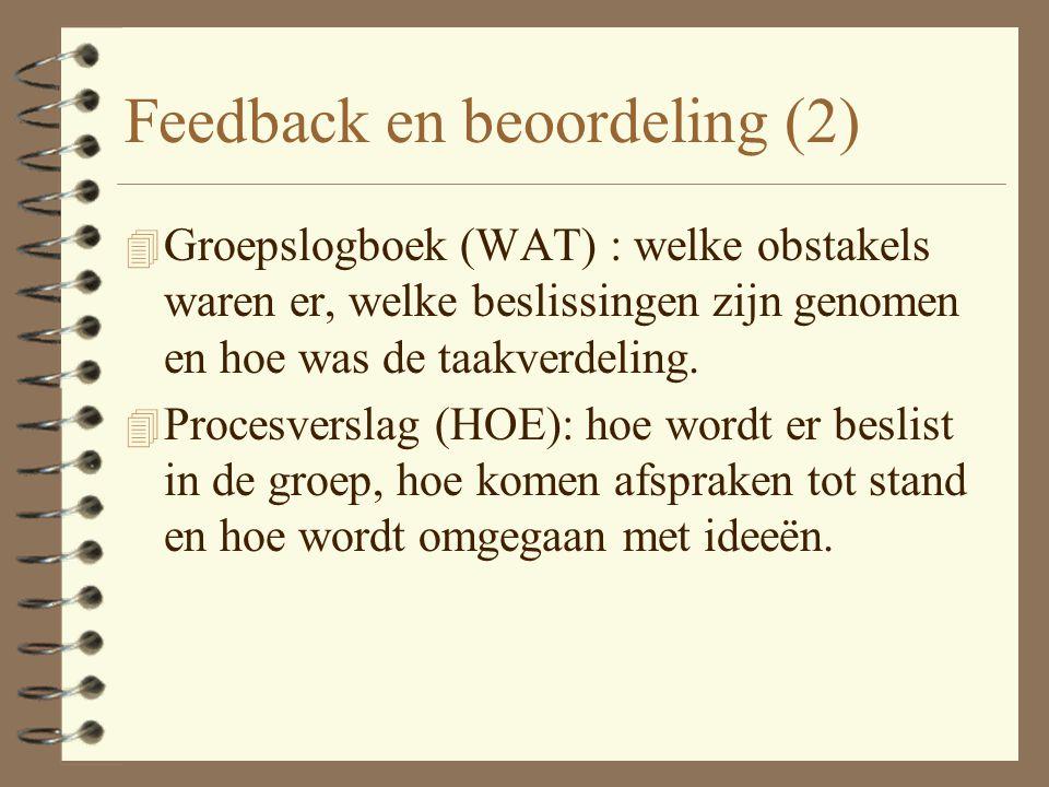 Feedback en beoordeling 4 Elke fase kan worden afgesloten met een deelproduct dat dient ter beoordeling van de groepsprestatie 4 Met vaste intervallen