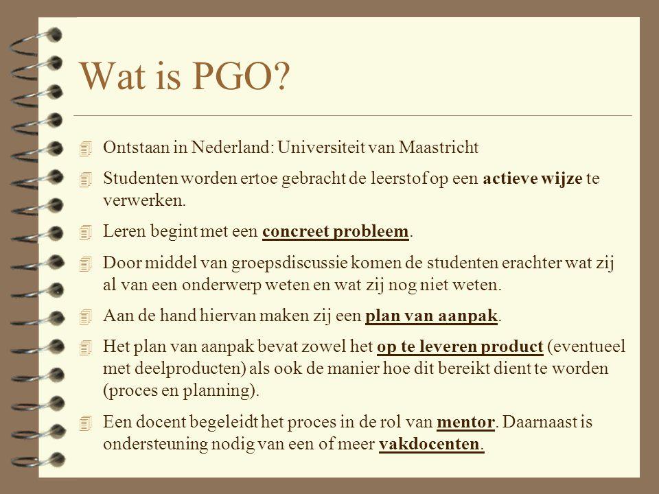 Vragen/zorgen?.4 PGO vraagt extra vakkennis. 4 PGO vraagt nog meer inzet.