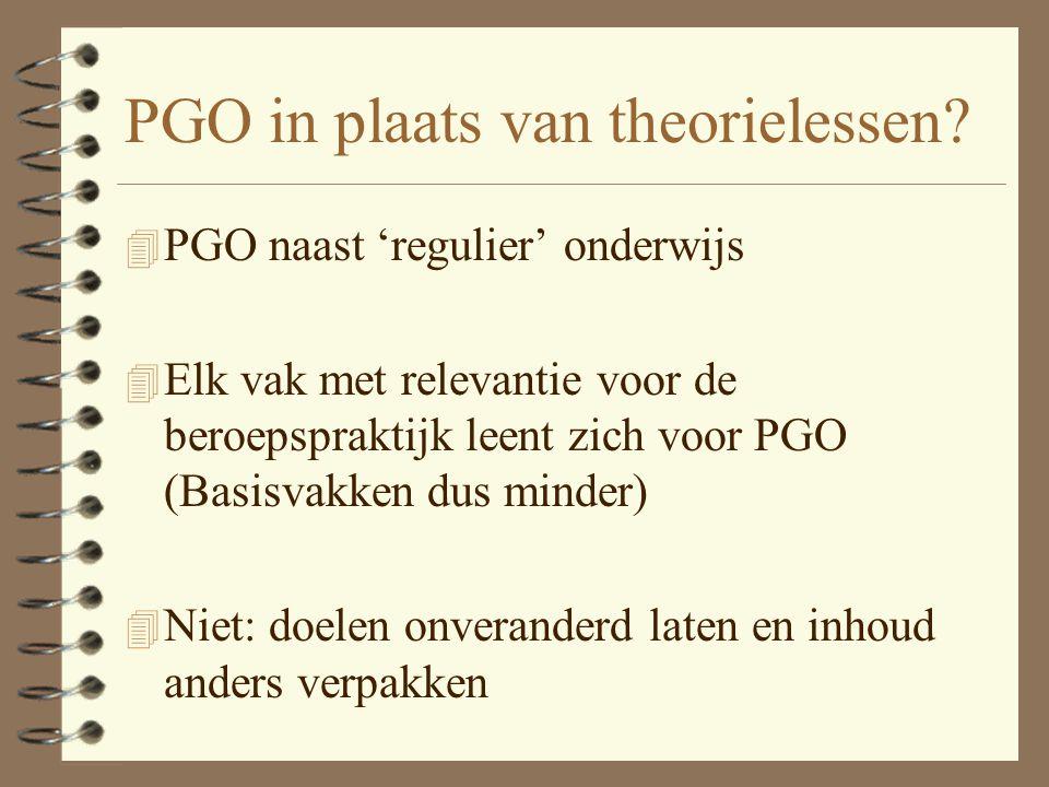 PGO in plaats van theorielessen.