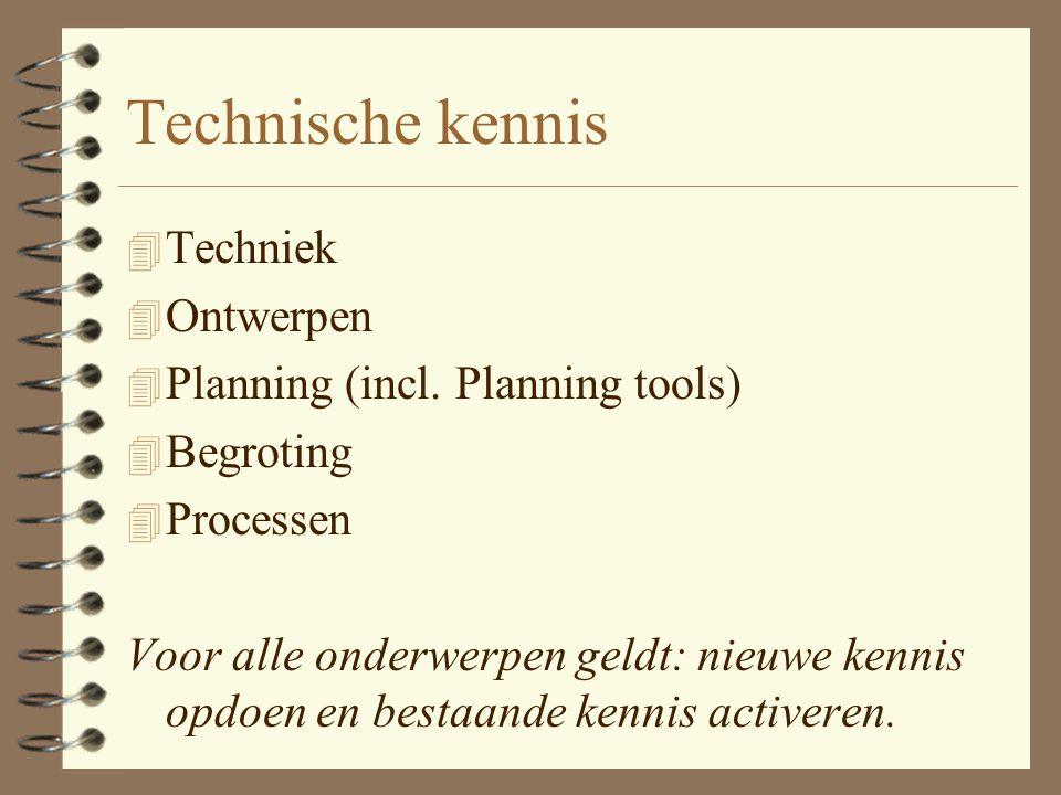 Voorbereiding / Planning 4 Kennismaking 4 Presentatie van 'het probleem' 4 Inventarisatie/Brainstorm 4 PvE/planning/ontwerp/begroting 4 Taakafstemming 4 Eventueel: Pilot / opzetten deeloplossingen