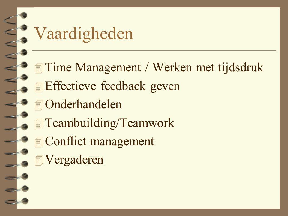 Vaardigheden 4 Time Management / Werken met tijdsdruk 4 Effectieve feedback geven 4 Onderhandelen 4 Teambuilding/Teamwork 4 Conflict management 4 Vergaderen