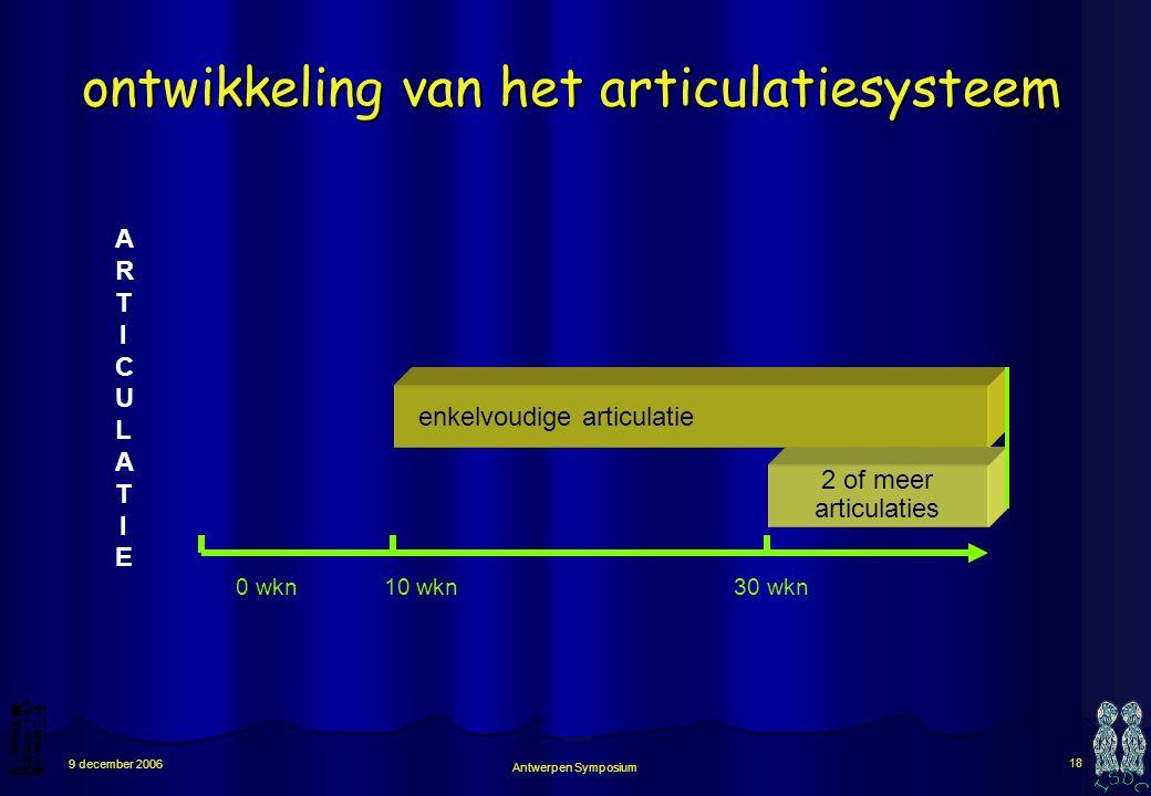 Antwerpen Symposium 17 9 december 2006 met ± dertig weken komen er meervoudige articulatiebewegingen repeterende open-dicht bewegingen: met kaak, lip,