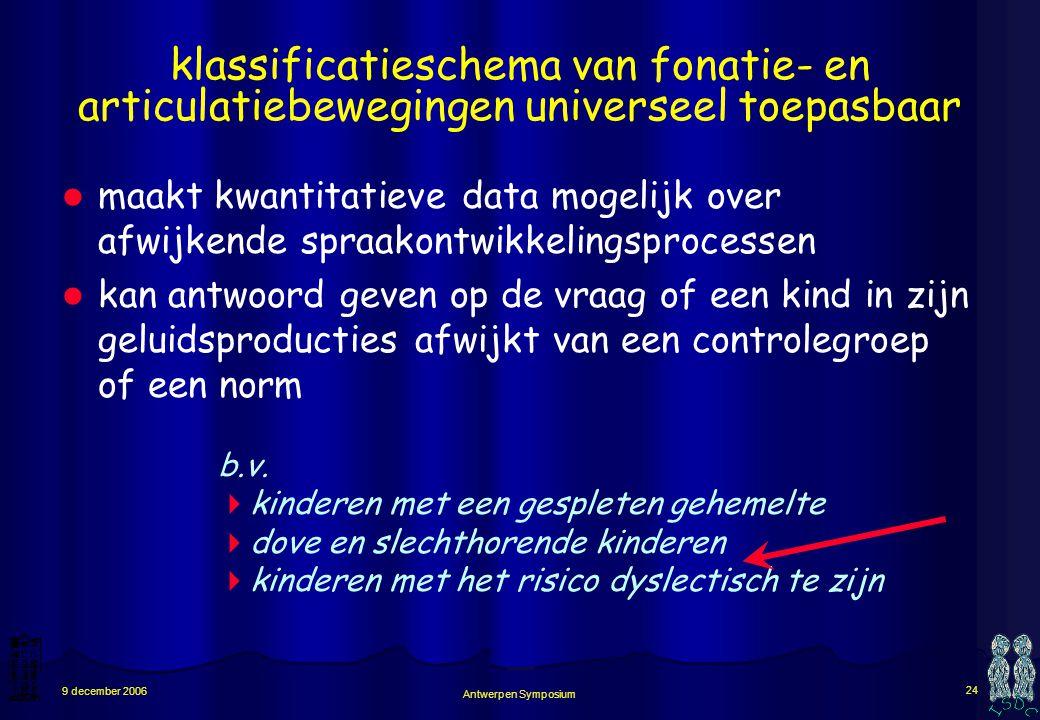 Antwerpen Symposium 23 9 december 2006 hoe spraakontwikkeling bepalen ? aangeven dat een baby vanaf een bepaalde leeftijd een bepaalde ontwikkelingsst