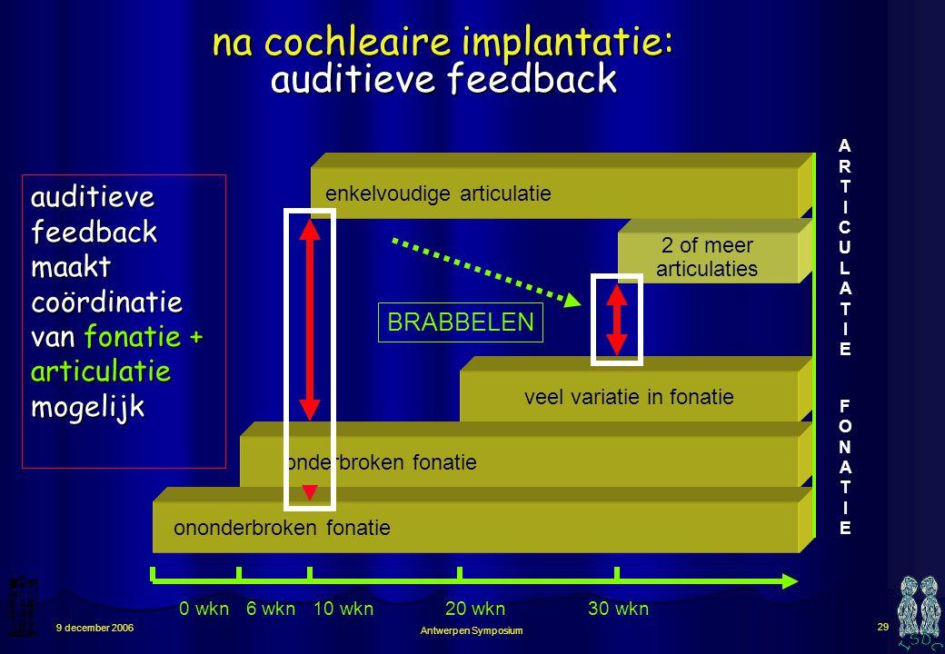 Antwerpen Symposium 28 9 december 2006 FONATIE FONATIE ARTICULATIEARTICULATIE veel variatie in fonatie onderbroken fonatie ononderbroken fonatie 0 wkn