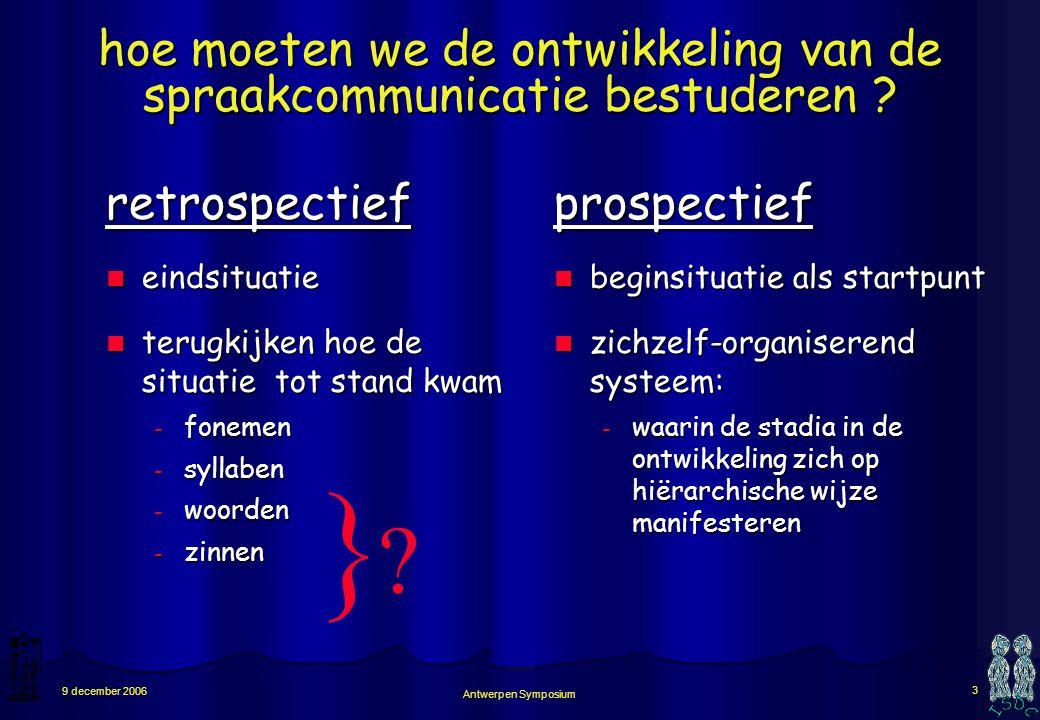 Antwerpen Symposium 3 9 december 2006 hoe moeten we de ontwikkeling van de spraakcommunicatie bestuderen .