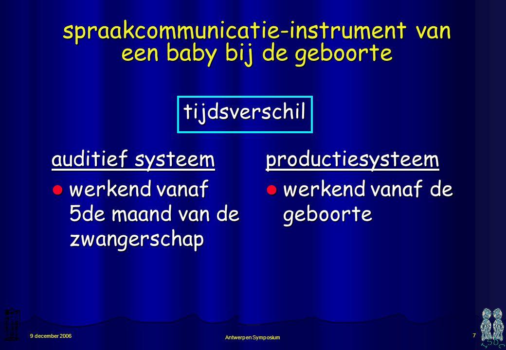Antwerpen Symposium 7 9 december 2006 spraakcommunicatie-instrument van een baby bij de geboorte auditief systeem werkend vanaf 5de maand van de zwangerschap werkend vanaf 5de maand van de zwangerschapproductiesysteem werkend vanaf de geboorte werkend vanaf de geboorte tijdsverschil
